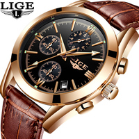 LIGE Watch Men Sport Quartz Fashion Leather Clock Mens Watches Top Brand Luxury Waterproof Business Watch
