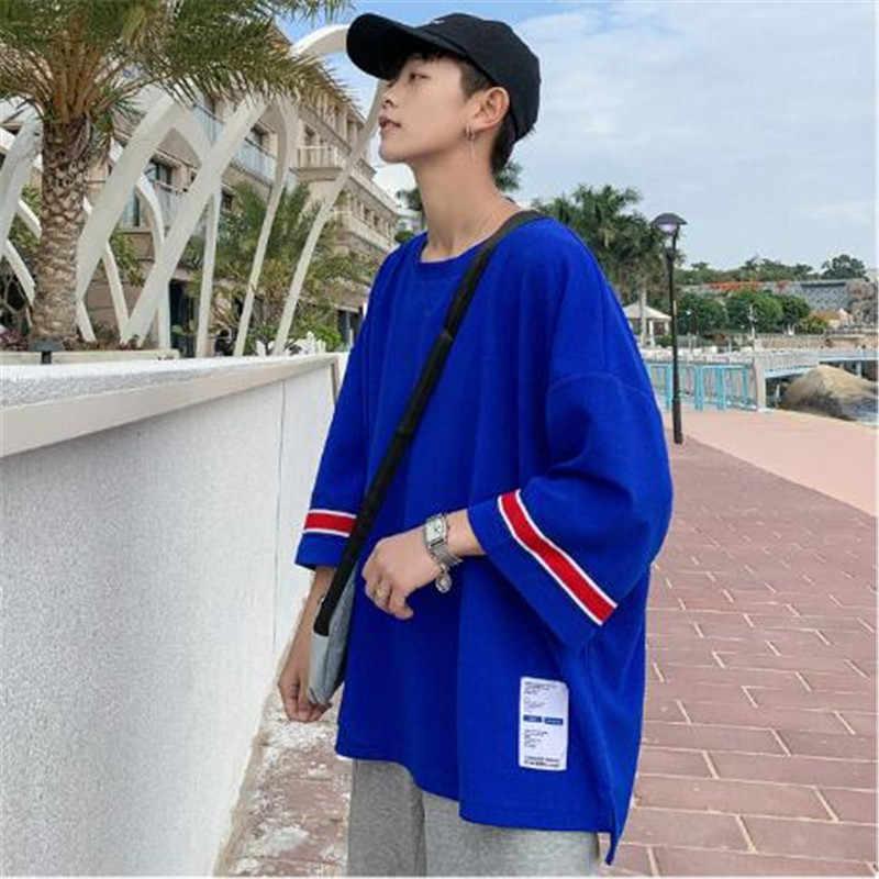 夏男性の 7 点スリーブ香港スタイル大サイズ半袖 Tシャツ大サイズメンズメンズルーズ tシャツ卸売