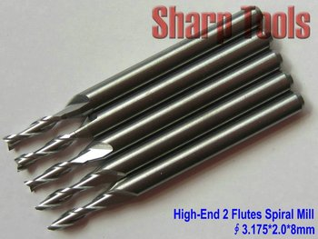 High-Grade Type 3.175*2.0*8MM 2 Flute Spiral Engraving Bits by Imported Material, CNC Carbide Tools,Woodworking Cutters,End Mill