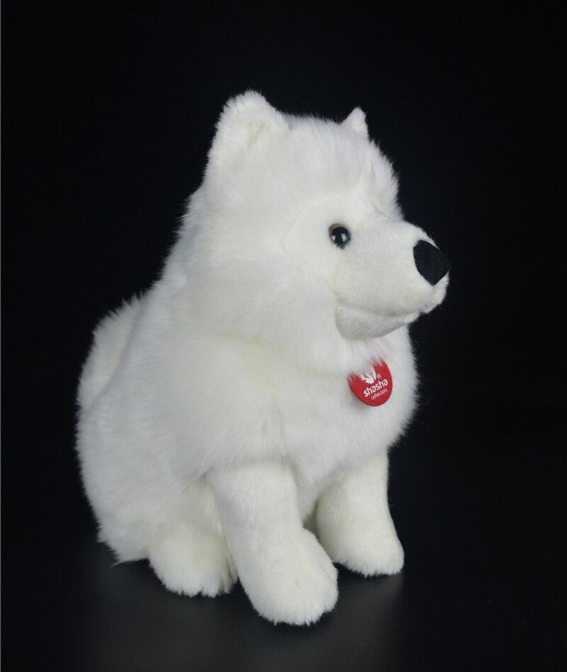 simulacao cao branco brinquedo de pelucia filhote 03