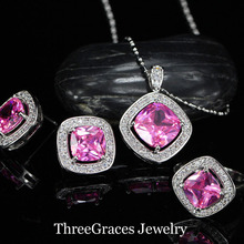 Romantic Pink Rhinestone Crystal Girls Jewellery Units Sterling Silver 925 Pendant Necklace Earrings Units For Girlfriend Present JS191