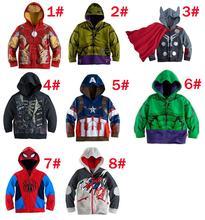 Детская супергерой пиджаки мстители железный человек капитан америка тор халк человек — паук пальто мальчик толстовки детская одежда бесплатная доставка