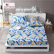 Slowdream 1PCS Leaf Nordic Bed Linen Fitted Sheets On Elastic Band Rubber Sheet Double Size Mattress Cover Single