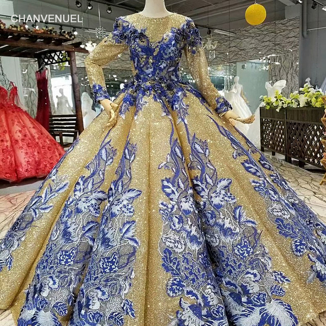 2453dd5c40 LS741100 shiny muslim women occasion dresses 2018 long sleeve o neck blue  flowers golden ball gown evening dress fast shiping-in Evening Dresses from  ...