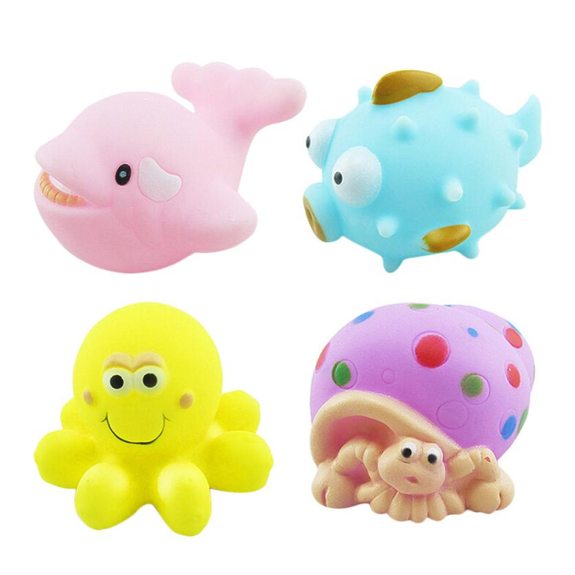One Dozen 4pcs Rubber Animals With Sound Baby Shower Party Favors Toy Q20 AUG24