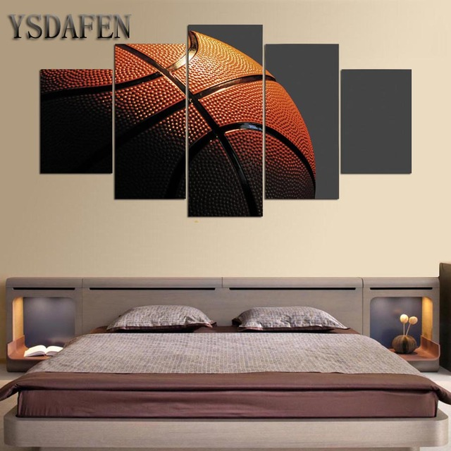 HD Gedrukt 5 Stuk Leinwand Kunst Basketbal Ingelijst Gym Poster Muur ...