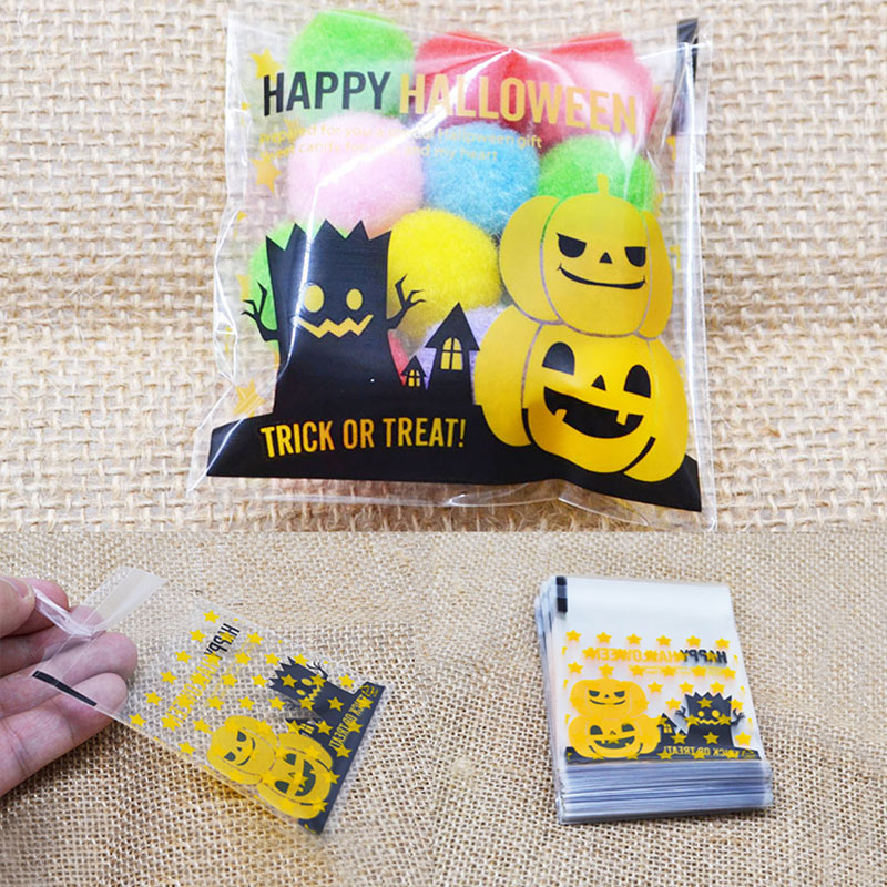 7*7cm Halloween Yellow Pumpkin Gifts Bags Plastic Clear DIY Candy Cookies Birthday Party Craft Bag Trick Or Treat Packaging Bags
