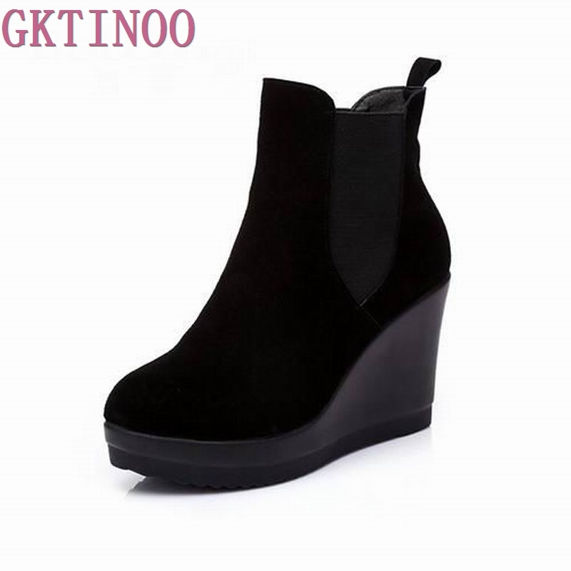 GKTINOO Genuine Leather Ankle Heel Boots antumn winter Style Ankle Boots For Women Boots Wedges Boot