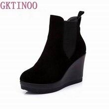 GKTINOO ของแท้หนังส้นเท้าข้อเท้ารองเท้าฤดูใบไม้ร่วง/ฤดูหนาวสไตล์ข้อเท้ารองเท้าสำหรับรองเท้าผู้หญิง Wedges รองเท้ารองเท้าผู้หญิง