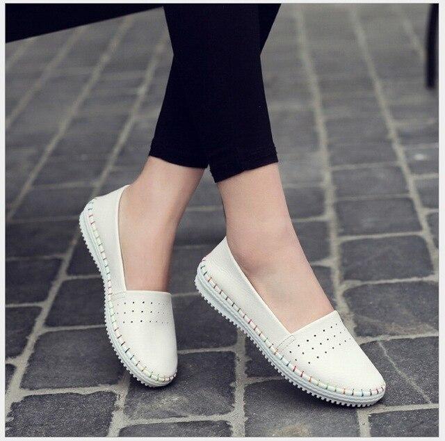 Весна осень женщины балетки случайные плоские мягкие обувь из натуральной кожи дамы Поскользнуться на марка мокасины квартиры обувь