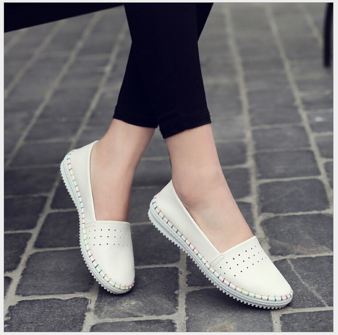 Spring autumn women ballet flats casual flat shoes soft genuine leather shoes ladies Slip on brand loafers flats shoes цена