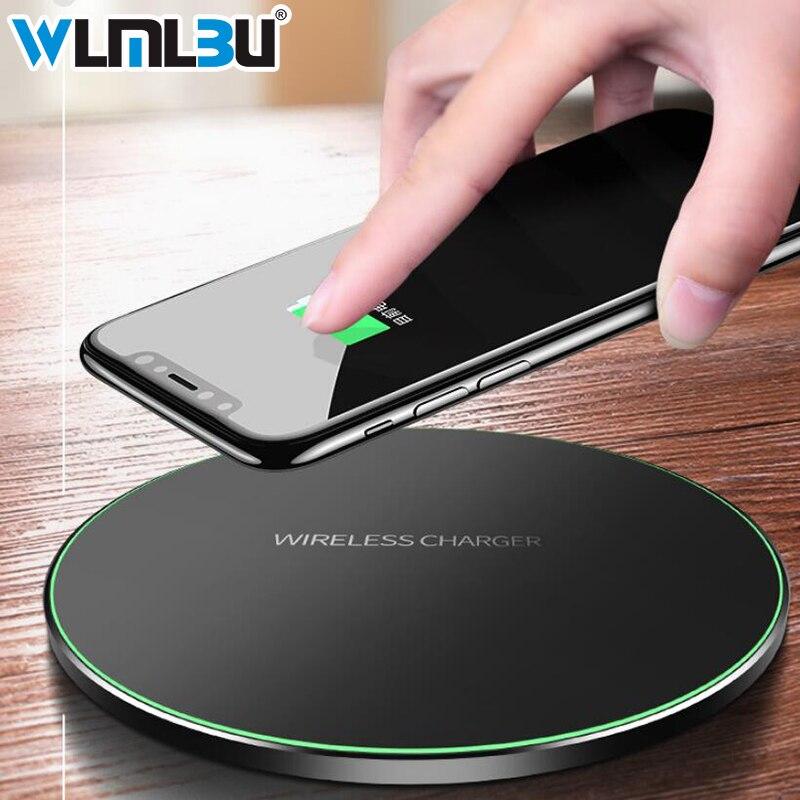 WLMLBU 10 W Qi cargador inalámbrico para iPhone X/8 Visible rápido almohadilla de carga inalámbrica para Samsung S9/S9 + S8 Nota 9 9 + 8 Xiaomi Huawei
