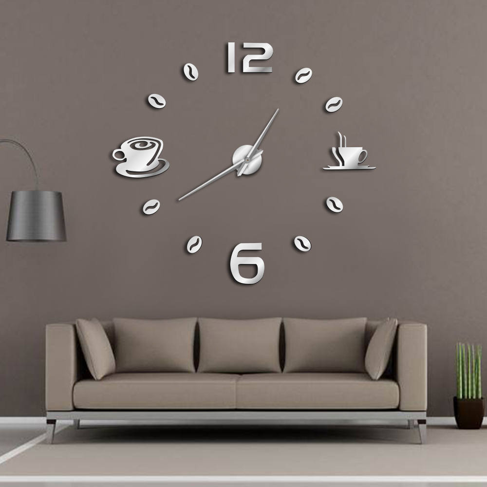 Cafe DIY Large Wall Clock Frameless Giant Wall Clock Modern Design Cafe Coffee Mug Coffee Bean Wall Decor Kitchen Wall Watch(China)