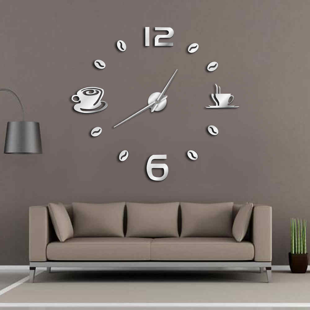 Cafe DIY Large Wall Clock Frameless Giant Wall Clock Modern Design Cafe Coffee Mug Coffee Bean Wall Decor Kitchen Wall Watch