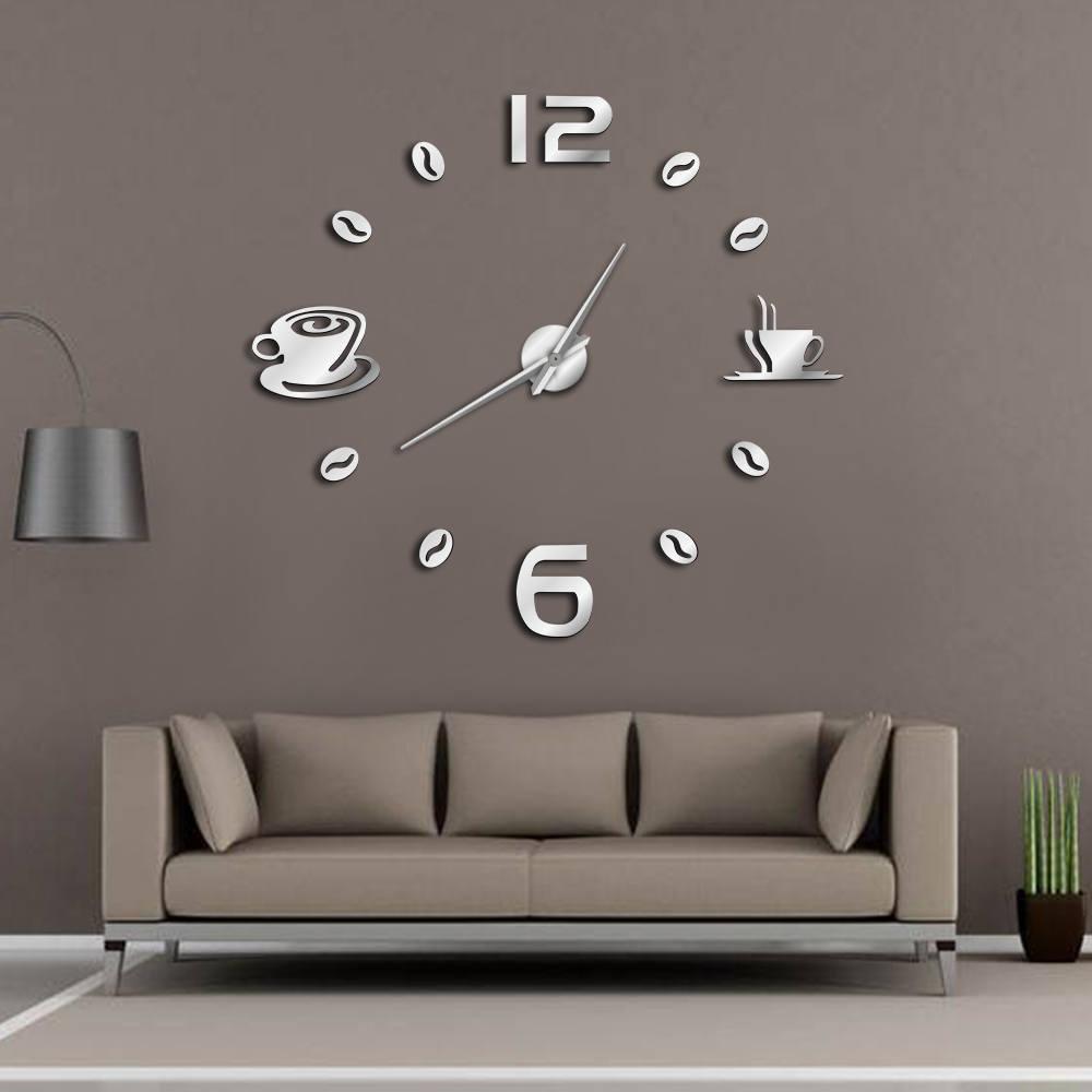 Cafe DIY Large Wall Clock Frameless Giant Wall Clock Modern Design Cafe Coffee Mug Coffee Bean Wall Decor Kitchen Wall Watch
