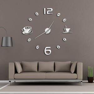 Cafe DIY Large Wall Clock Frameless Giant Wall Clock Modern Design Cafe Coffee Mug Coffee Bean Wall Decor Kitchen Wall Watch(China)