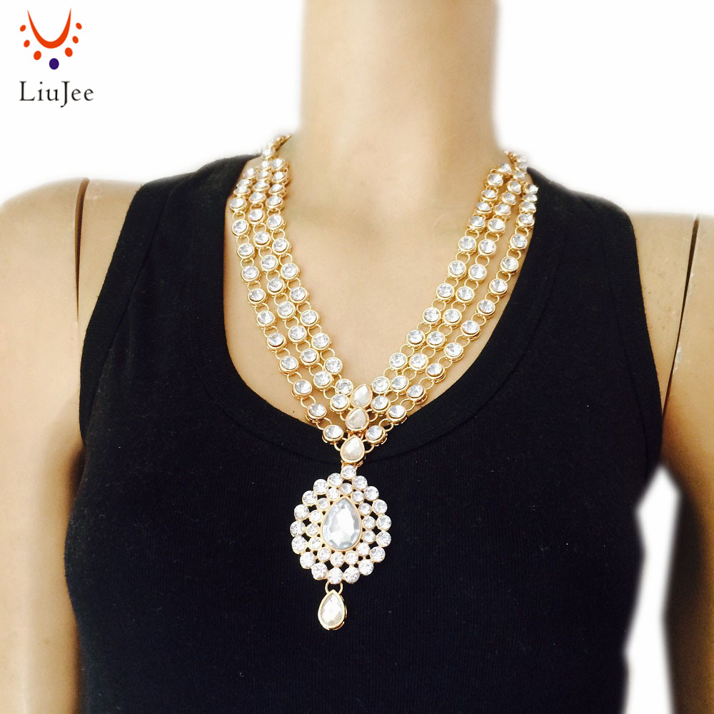 Gold Color Fashion wedding Bridal Indian Jewelry Kundan Necklace Bridesmaids Party Prom NK-020