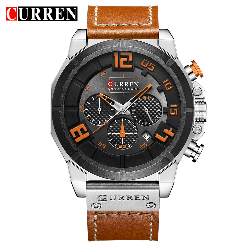 CURREN 8287 Top Brand Chronograph Quartz watches Men 24 Hour Date Men Sport Leather Wrist Watch