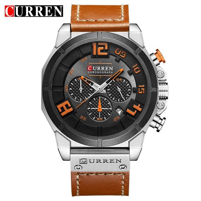 Curren 8287 Лидирующий бренд хронограф кварцевые часы Для мужчин 24 часа дата Для мужчин спортивные кожаные Наручные часы