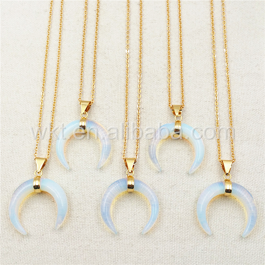 WT N850 Wholesale Charm Opal Horn Necklace Pendant 18 Gold Chain Horn Necklace Natural Opal Stone