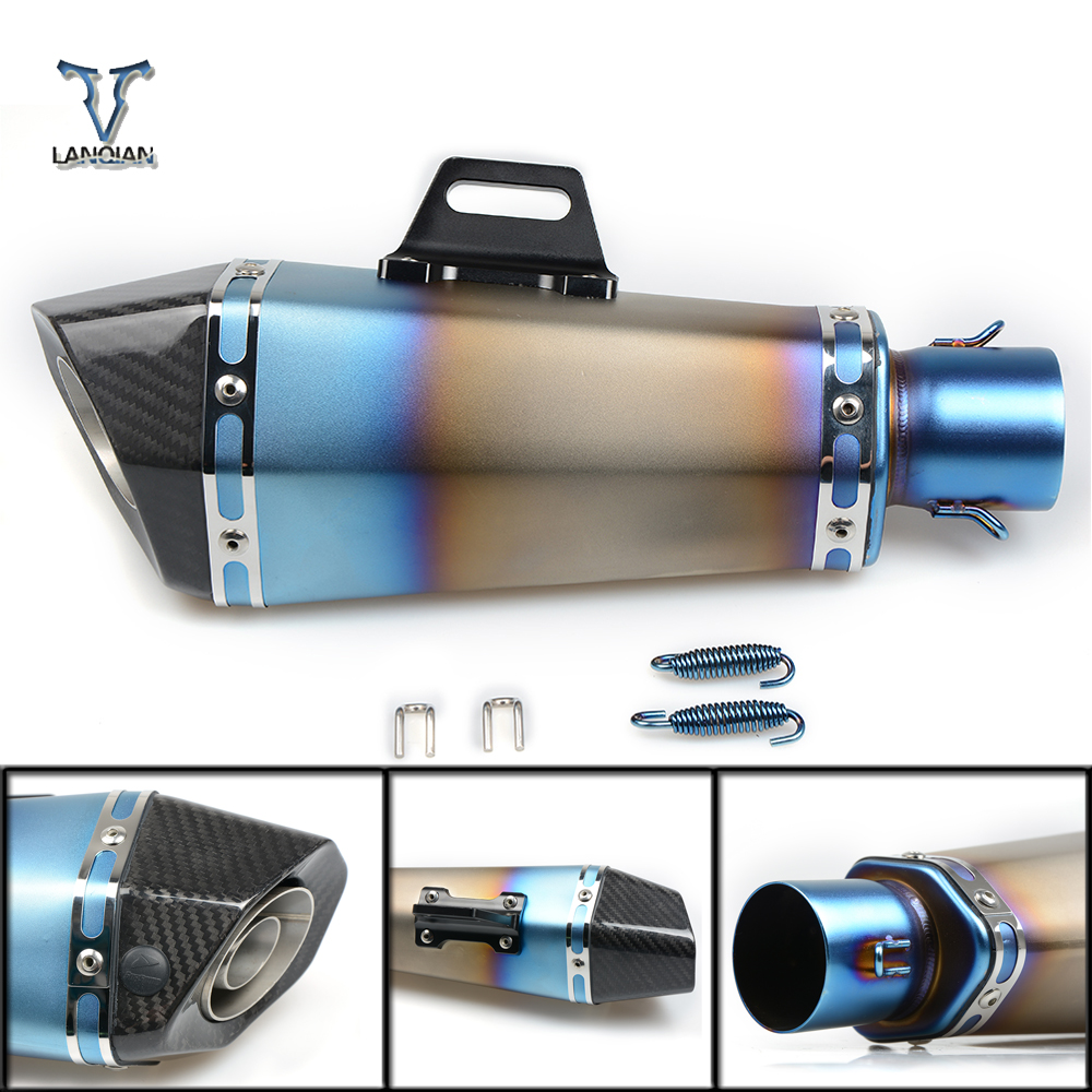цена на 36-51mm Universal CNC Motorcycle Exhaust Pipe With Muffler For Suzuki hayabusa gsxr1300 gsxr 1300 gsx-s1000 gsx-s1000f ABS