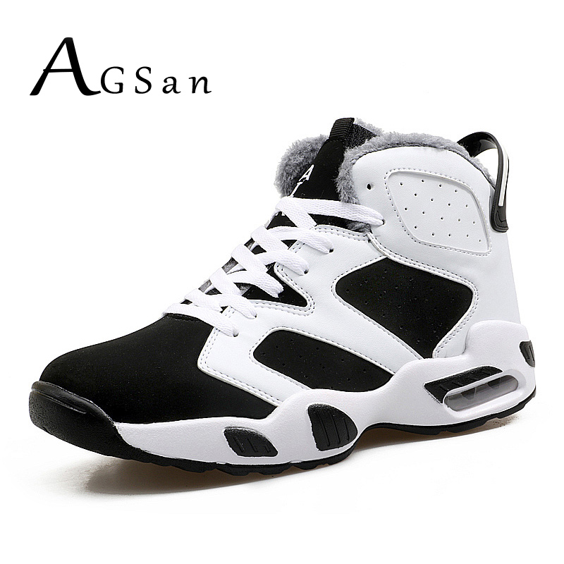 AGSan Men Winter Boots Warm Fur Plush Boots For Men Unisex Ankle Boots Black Krasovki Sneakers For Lovers Winter Sneakers Boots