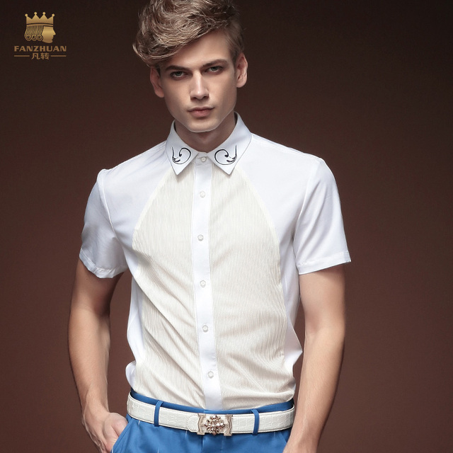 FanZhuan Free shipping New Spring male summer men's shirts white collar short sleeved shirt 15333 slim solid tide On Sale