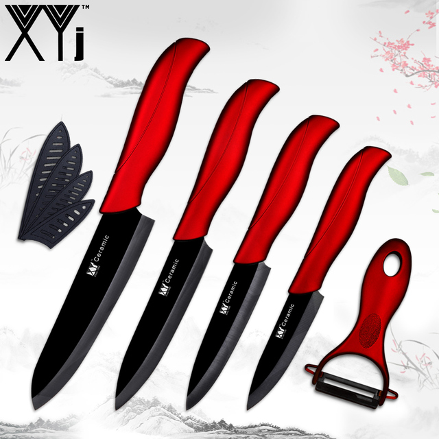 XYj Black Blade Ceramic Kitchen Knives Sets 3 4 5 6 Inch Paring Utility Slicing Chef Knife + Ceramic Peeler Wave Handle Knives