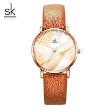 Shengke New Women Watches Creative Leaves Dial Ladies Fashion Leather Wrist Watch 2019 Ultra Thin Case Zegarek Damski #K0108