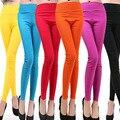 2016 moda Sexy Super-elástico cores Doces Sólidos Mulheres Leggings Ladies Feminino Plus Size Grande XXXL Capri De cintura Alta calças pés