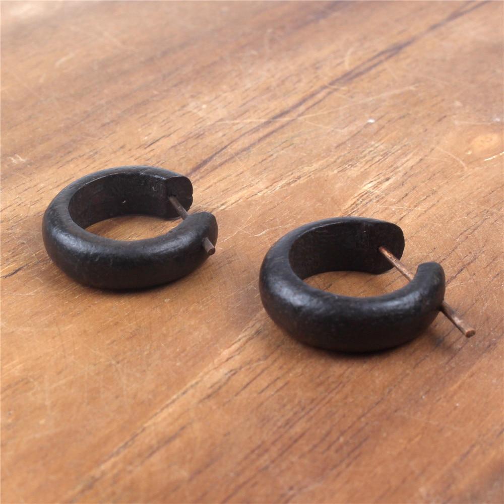 Black Natural Wooden Circle Men's Earrings