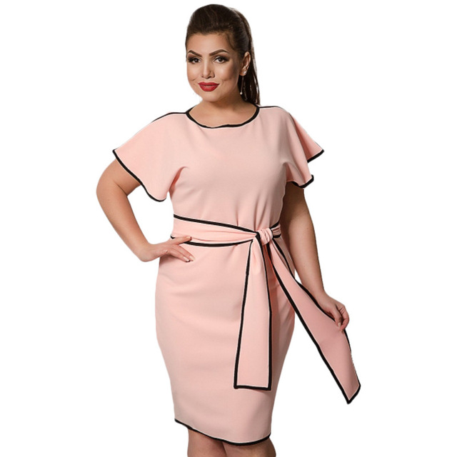 US $19.89 |Pink Dress Plus Size L 6XL Women Elegent Flare Short Sleeve O  Neck Contrast Color Rim A Line Dresses With Sash Office Lady Wear-in  Dresses ...