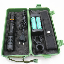 Zoomable 5800lm xml-T6 led flashlight tactical Zoom Torch Lighting Lamp Bike light lantern+Battery+Charger+Bike clip+Bag+Box