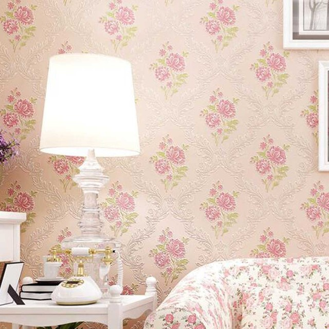 Romantic Rustic Pink Small Flower Eco Friendly Non Woven Wallpaper