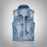 Fashion Denim Waistcoat Men's Slim Cowboy Vests Light Blue Hole Cowboy Vest Hip Hop Men Outer Mens Outerwear Tops Plus Size 6XL