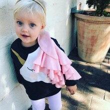 Able новорожденных девочек Единорог Гофрированные Топы свитшоты с длинным рукавом О-образным вырезом Тюль весенняя одежда случайные толстовки с капюшоном Топ