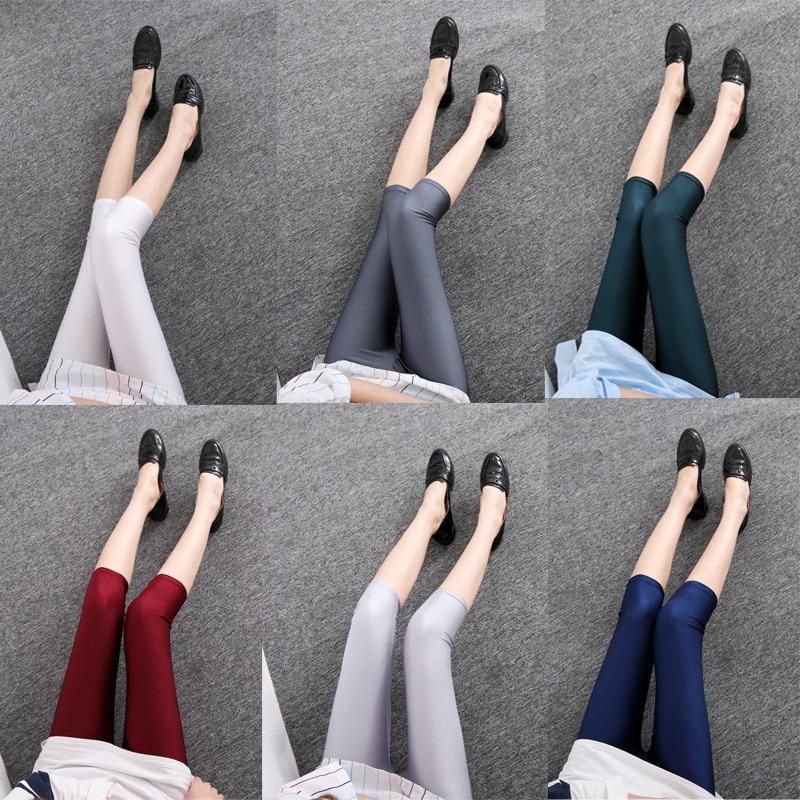 2019 Summer Women Capri Pant Leggings Casual Solid Color Fluorescent Shiny Legging Slim Elasticity Leggings Fitness Feminina