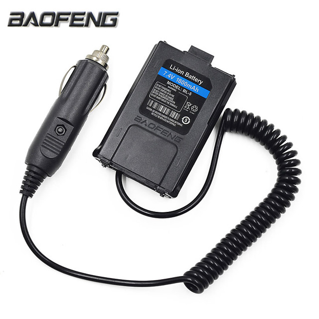 12v Baofeng Uv 5r Car Charger Battery Eliminator Adapter For Portable Radio 5re Plus 5ra Walkie Talkie Accessories