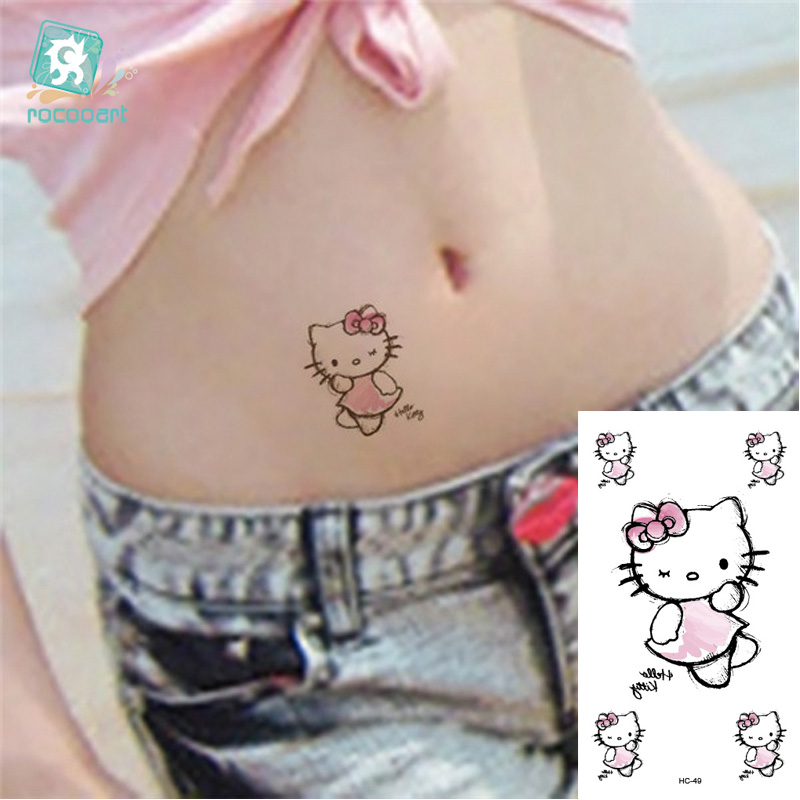 Rocooart HC1049 Waterproof Fake Tattoo Women Sexy Cartoon Hello Kitty Stickers For Childrens Flash Temporary Tattoo Decals