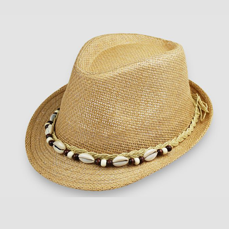 fa0473ce Men's Women's Spring Summer Cap Sun Cowboy Hat Straw Hat Beach Breathable Hats  Men's Caps Panama National Style Shell Decoration