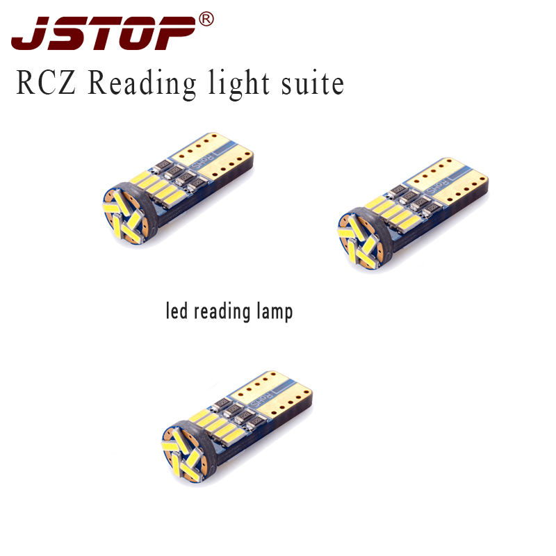 JSTOP 3pcs/set RCZ <font><b>W5W</b></font> <font><b>T10</b></font> led bulbs Lights car <font><b>canbus</b></font> auto 4014SMD 12VAC 6000k LED Light white lamp image
