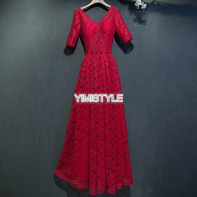 V Neck Half Sleeve Red Lace Formal Evening Party Dresses Long 2019 Women Prom Dress For Graduation Grils vestido de festa longo