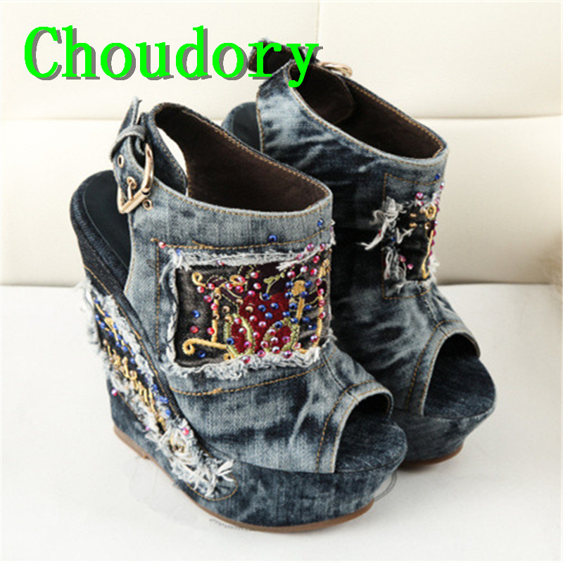 Choudory Super High Heels Wedges Platform Demin Crystal Shoes Woman Buckle Strap Solid Peep Toe Embroider Ethnic Women Sandals