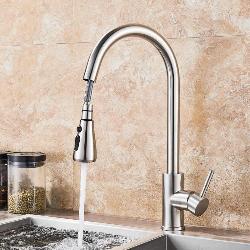 Siyah mutfak bataryası Pull Down dokunun tek kolu yağ ovuşturdu bronz mutfak lavabo mikseri dokunun 2 desen duş borulu sıcak soğuk musluk