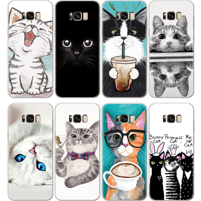 Cartoon Cute <font><b>Cat</b></font> <font><b>Case</b></font> For <font><b>Samsung</b></font> <font><b>Galaxy</b></font> S5 S6 S7 Edge S8 S9 Plus Note 8 9 A3 A5 A6 <font><b>A8</b></font> J2 J3 J5 J7 Prime 2016 2017 <font><b>2018</b></font> TPU Capa image