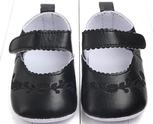 baby girls shoes newborn black PU infant prewalkers little crib nonslip formal flower embroidery soft sole