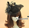 Princess Kate Black Hats Feather Tulle Real Image Sexy Cheap Modest Hot Sale Vintage Hair Flowers Wedding Accessories