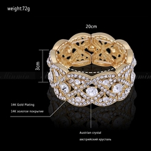 Minmin Gold Plated Big Bangles with Crystal Floral Bracelets for Women Wedding Accessory African Beads Jewelry SL053