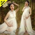 Новый 2016 белый беременным кружевном платье беременных фотографии реквизит необычные беременность материнство фотосессии длинное платье рубашка