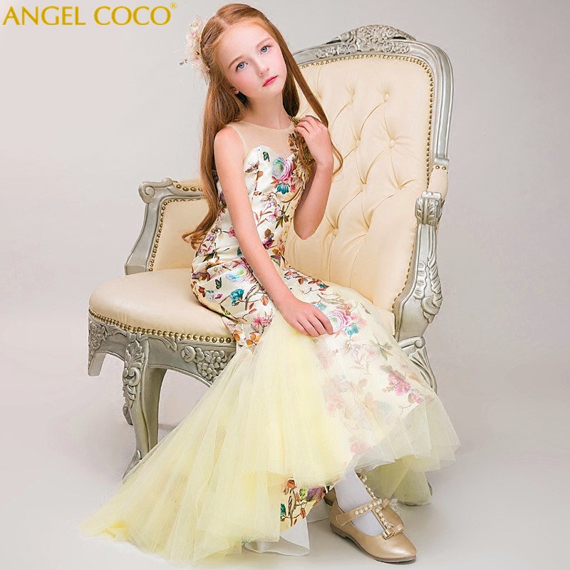 Luxury Champagne Carnaval Flower Girl Dress For Weddings Mermaid Sleeveless Pageant Dress Sequins Appliques Prom Gowns Vestido Luxury Champagne Carnaval Flower Girl Dress For Weddings Mermaid Sleeveless Pageant Dress Sequins Appliques Prom Gowns Vestido